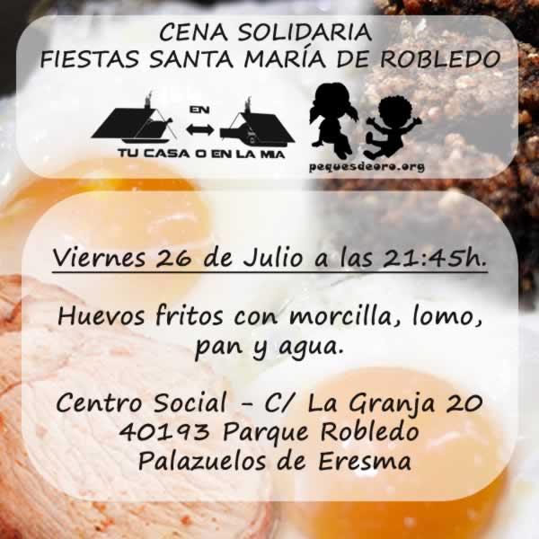 Cena Solidaria Asociación PequesdeOro y Asociación En tu casa o en la Mía